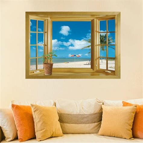 Here at wayfair, we're inspired by wall décor transformations. 3D Window Scenery Beautiful Sea Beach View wall sticker fake window poster decorative poster ...