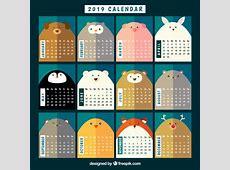 Ładny kalendarz 2019 ze zwierzętami Wektor Darmowe