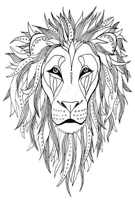 patterned Lion ink drawing by AmandaRuthArt on DeviantArt