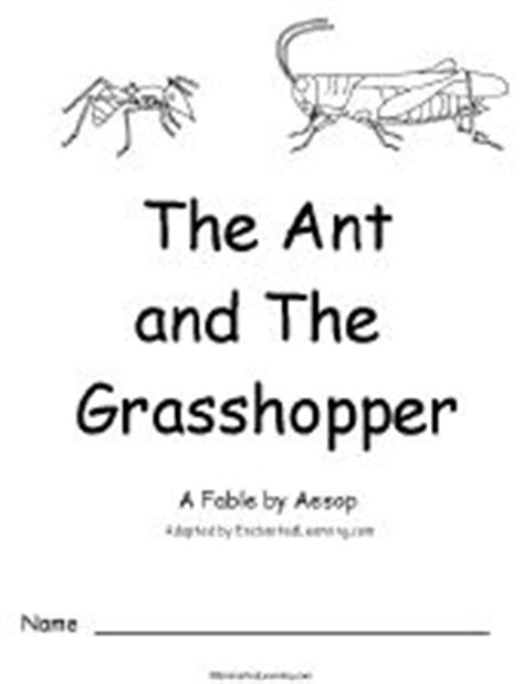 the ant and the grasshopper a fable by aesop a printable