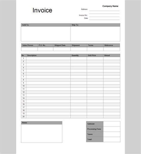 google docs invoice template printable invoice template