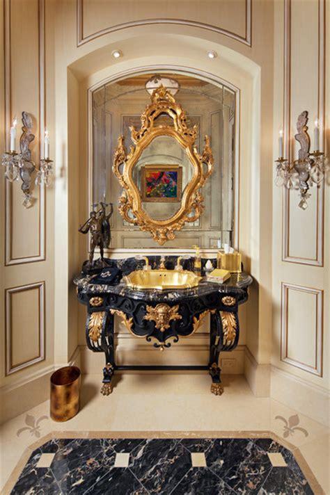 french antique vanity powder room  gold onyx drop