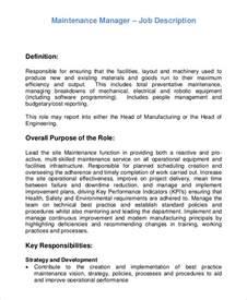 maintenance description duties sle maintenance description 9 exles in pdf word