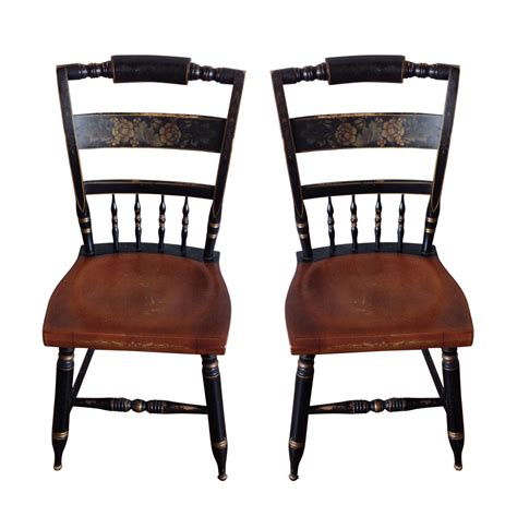 antique hitchcock dining chairs a pair chairish
