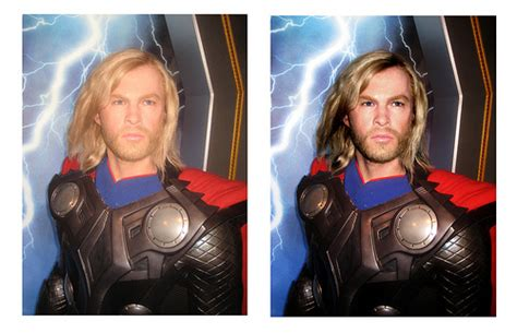 before and after retouching image waxwork thor 125444