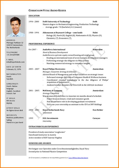 Cv Resume Template Pdf by 4 Curriculum Vitae Exle Pdf Cashier Resumes