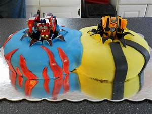 Transformers Cake 2 Round Cakes With Hole Cut From Middle