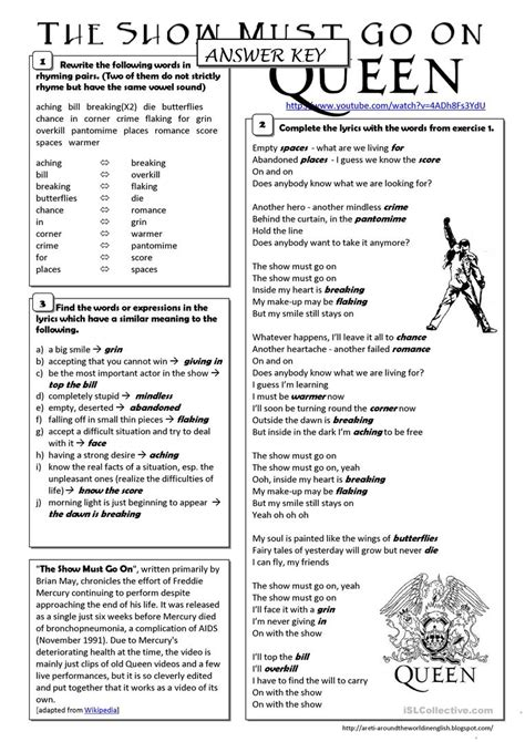 song the show must go queen worksheet free esl printable worksheets made by teachers