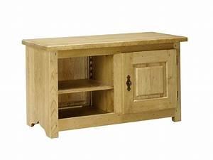 Meuble Tv Rustique : petit meuble tv rustique paros 1 porte et 1 niche meubles bois massif ~ Teatrodelosmanantiales.com Idées de Décoration