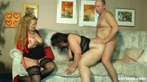 One Lucky Guy Having Threesome Sex With Two Big White