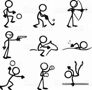 Stickfigures Doing A Variety Of Sporting Activities