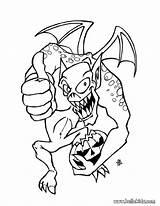 Coloring Halloween Gargoyle Monsters Dangerous sketch template