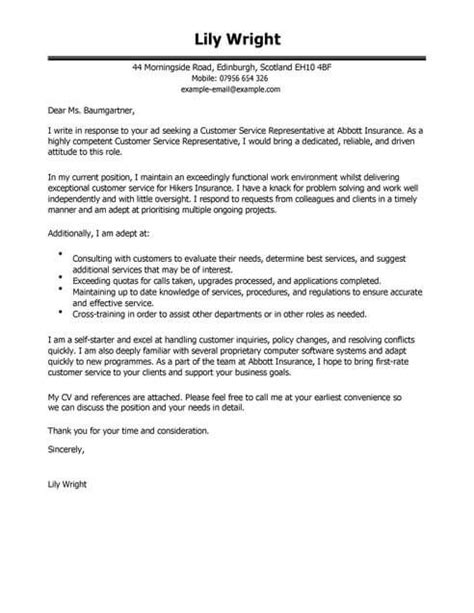 Free Covering Letter Template Uk by Customer Service Representative Cover Letter Exles