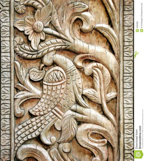 carved wooden bird detail stock photo image  antique