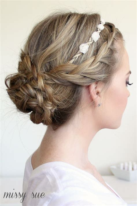 Bridesmaid Updo Hairstyles With Braids by Braided Updo And Flower Crown And Makeup