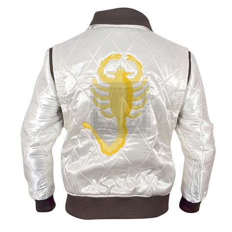 drive white satin jacket  golden scorpion embroidery drive ryan gosling leather madness