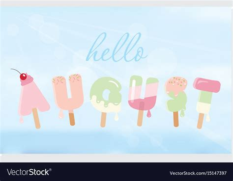 Hello august letters on blurred sky background vector ...