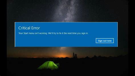 windows 10 critical error fix start menu and cortana not working
