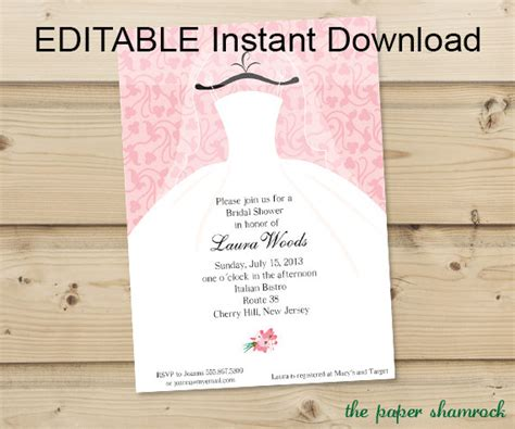 editable wedding invitation editable instant bridal shower invitation wedding shower invitations dress on