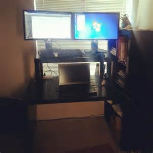 standing desk for tall people and multiple monitors