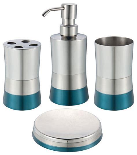 Shiny Matte 4piece Bathroom Set, Blue Contemporary