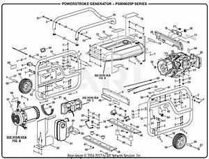 Homelite Ps906025p Powerstroke 6 000 Watt Generator Parts Diagram For General Assembly