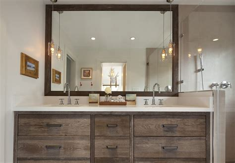 reclaimed wood vanity bathroom transitional with wall