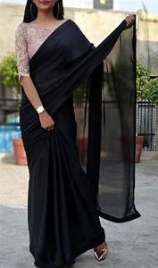 Simple Design Black Satin Georgette Saree Custom Made Designer Chantilly