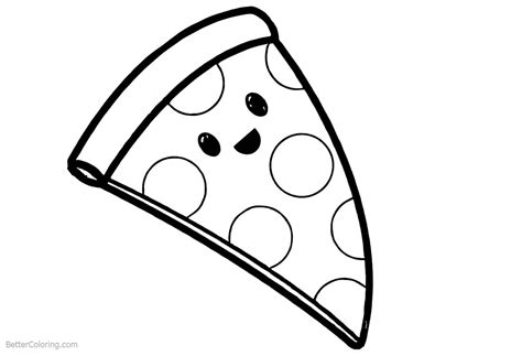 cute food coloring pages cartoon pizza  printable