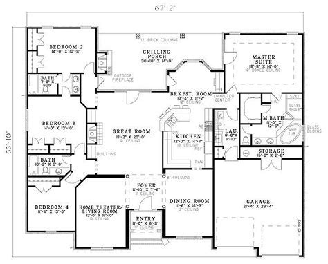 European Style House Plan   4 Beds 3.00 Baths 2525 Sq/Ft