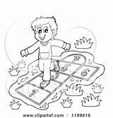 Hop Clipart Playing Boy Scotch Happy Cartoon Outlined Hopscotch Children Playground Visekart Royalty Vector Illustration Sandbox Swing Slide Rf Illustrations sketch template