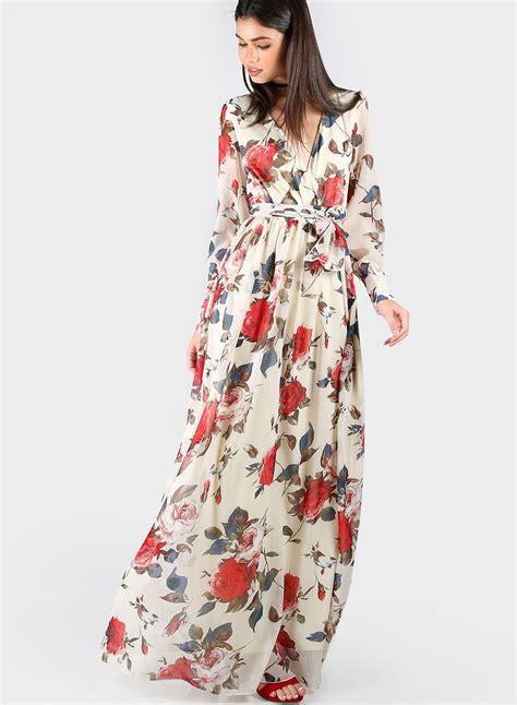 sleeve printed maxi dress 39 s v neck sleeve floral printed maxi dress