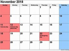 Free November 2018 Printable Calendar with Holidays