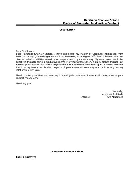 resume cover letter format  freshers govt jobcover letter  resume cover letter