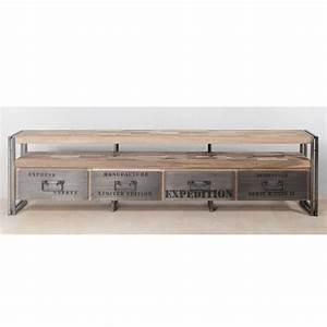 Meuble Tv Métal Industriel Pas Cher : meuble tv en bois 4 tiroirs industry achat vente meuble tv meuble tv en bois 4 tiroirs ~ Teatrodelosmanantiales.com Idées de Décoration