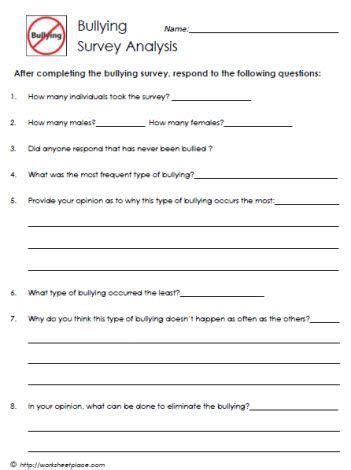 worksheets for elementary students on bullying printable