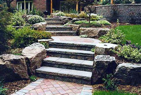 front yard steps landscape with rocks steps and stones ideas
