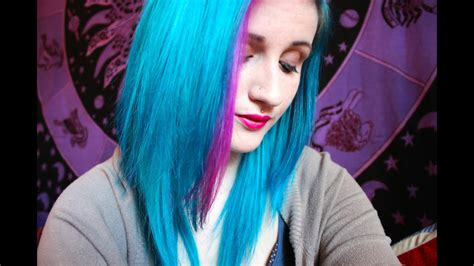 dying  hair peacock blue pink youtube
