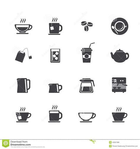 Coffee Cup And Tea Cup Icon Set Stock Vector   Image: 43307986