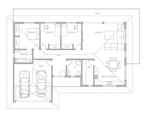 small house design  open floor plan efficient room planning  bedrooms double garage
