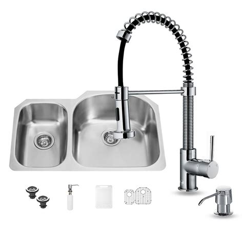 chrome kitchen sink vigo all in one undermount stainless steel 31 in 2201