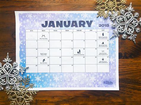 Disney January 2018 Calendar