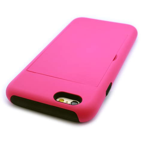 """Exquisite cutouts offer an easier access to all ports,all buttons,sensors,speakers and camera on your phone. Case for Apple iPhone 6s / 6 (4.7"""") with Credit Card Slot Kickstand Hybrid Cover   eBay"""