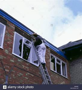Home maintenance and repair; man up a ladder painting a