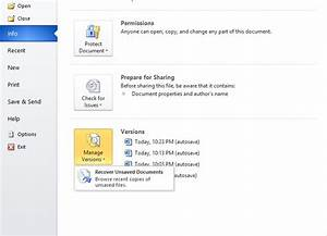 How to recover unsaved microsoft word documents with for Version control documents word