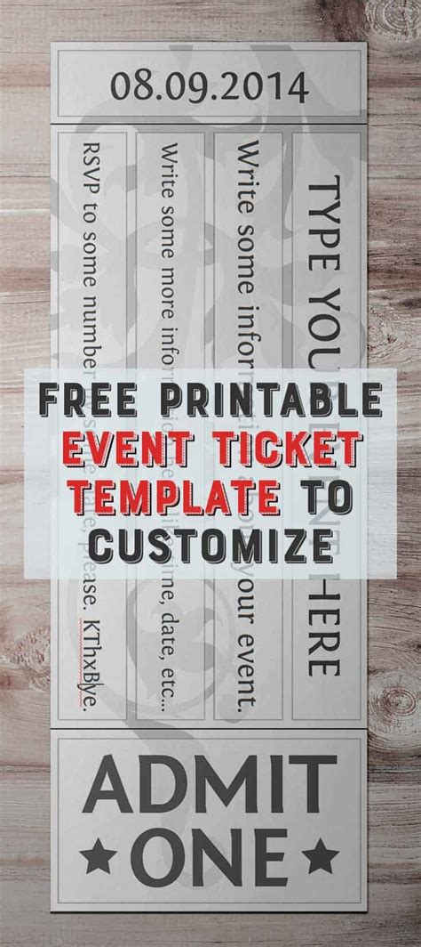 printable event ticket template  customize