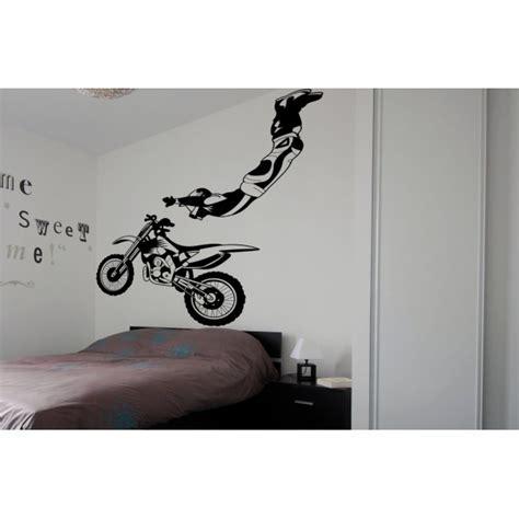 chambre bordeau stickers mural deco géant pas cher moto cross enduro
