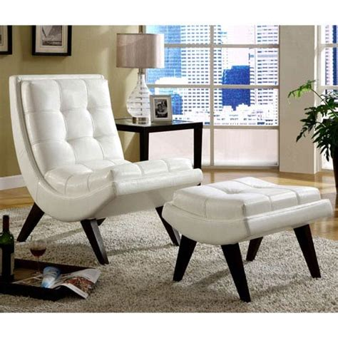 white chair with ottoman white faux leather lounge chair with ottoman homehills