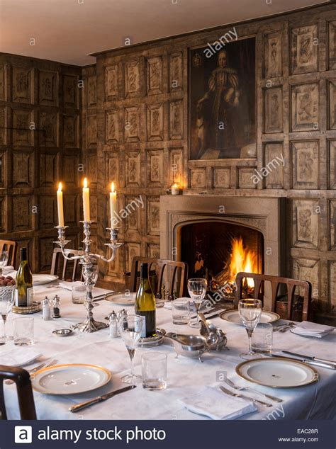 Original Jacobean Wall Panels In Dining Room With Open