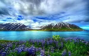 Nature, Beautiful, Hd, Wallpaper, Mountain, Lake, Flowers, Sky, Wallpapers13, Com